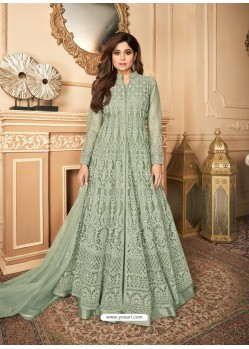 Olive Green Latest Heavy Designer Premium Net Party Wear Anarkali Suit