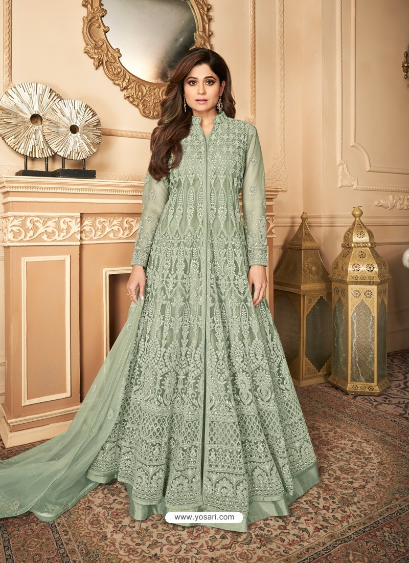 Olive Green Latest Heavy Designer Premium Net Party Wear Anarkali Suit