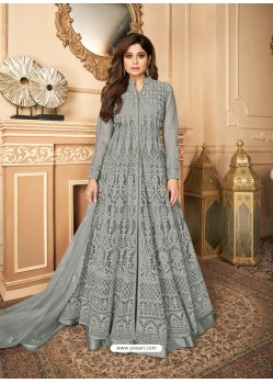 Grey Latest Heavy Designer Premium Net Party Wear Anarkali Suit