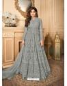 Grey Latest Heavy Designer Premium Net Party Wear Anarkali Suit