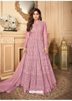 Light Pink Latest Heavy Designer Premium Net Party Wear Anarkali Suit