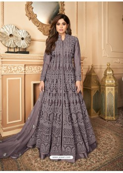 Lavender Latest Heavy Designer Premium Net Party Wear Anarkali Suit