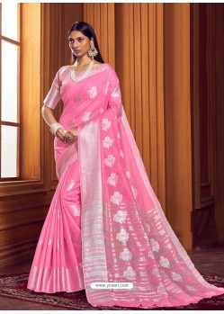 Light Pink Dazzling Designer Party Wear Linen Sari
