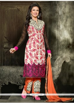 Aesthetic Embroidered Work Off White Georgette Designer Pakistani Suit