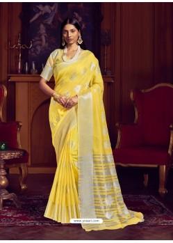 Yellow Dazzling Designer Party Wear Linen Sari