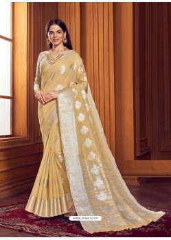 Beige Dazzling Designer Party Wear Linen Sari