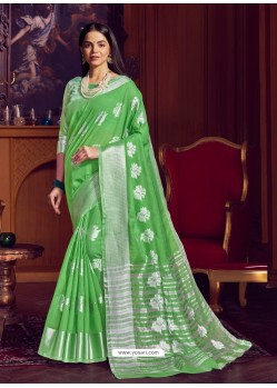 Green Dazzling Designer Party Wear Linen Sari
