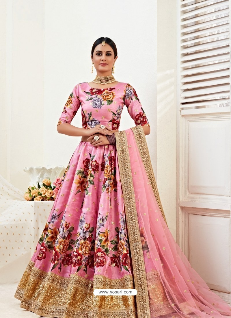 Pink Heavy Designer Party Wear Banglori Satin Lehenga