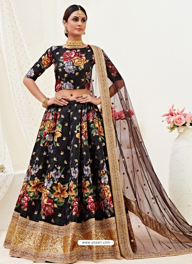 Black Heavy Designer Party Wear Banglori Satin Lehenga
