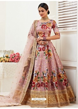 Old Rose Heavy Designer Party Wear Banglori Satin Lehenga