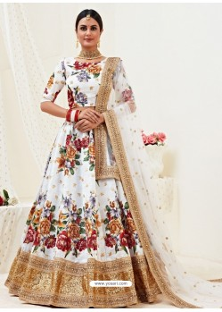 White Heavy Designer Party Wear Banglori Satin Lehenga