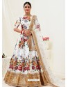 White Heavy Designer Party Wear Banglori Satin Lehenga