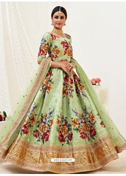 Green Heavy Designer Party Wear Banglori Satin Lehenga