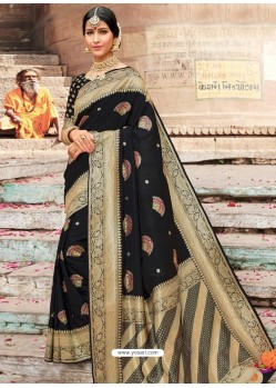 Black Designer Party Wear Banarasi Silk Sari