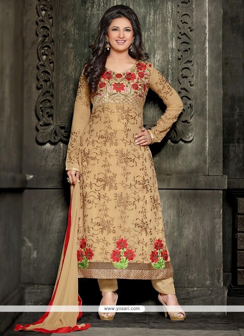 Sonorous Lace Work Beige Georgette Designer Straight Salwar Suit