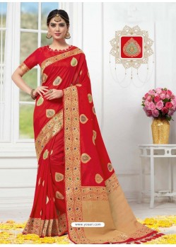 Red Designer Party Wear Banarasi Silk Sari