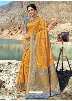 Mustard Designer Party Wear Banarasi Silk Sari
