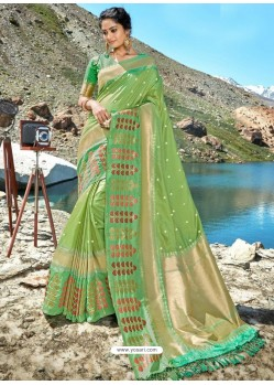 Green Designer Party Wear Banarasi Silk Sari