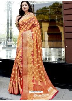 Orange Stunning Designer Party Wear Silk Sari