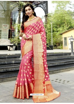 Pink Stunning Designer Party Wear Silk Sari