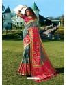 Aqua Grey Designer Party Wear Banarasi Silk Sari