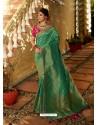 Green Designer Party Wear Banarasi Silk Sari