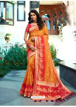 Orange Designer Party Wear Banarasi Silk Sari