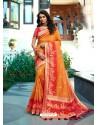 Orange Designer Party Wear Banarasi Silk Sari