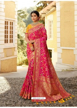 Rani Designer Party Wear Banarasi Silk Sari