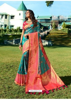 Turquoise Designer Party Wear Banarasi Silk Sari