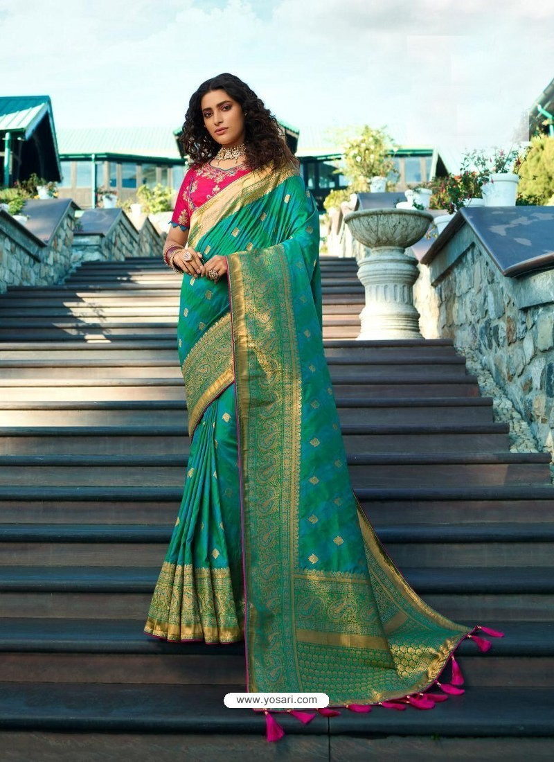 Blue Designer Party Wear Banarasi Silk Sari