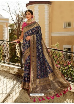 Navy Blue Designer Party Wear Banarasi Silk Sari