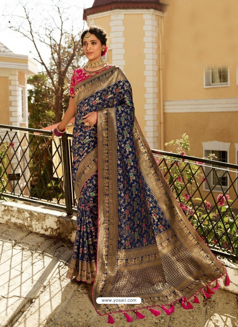 Navy Blue Designer Party Wear Banarasi Silk Sari