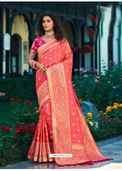 Light Red Designer Party Wear Banarasi Silk Sari
