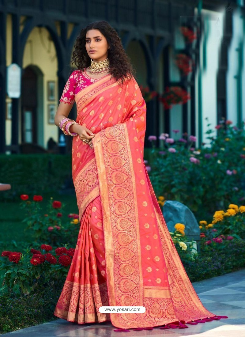 Light Red Designer Party Wear Banarasi Silk Sari