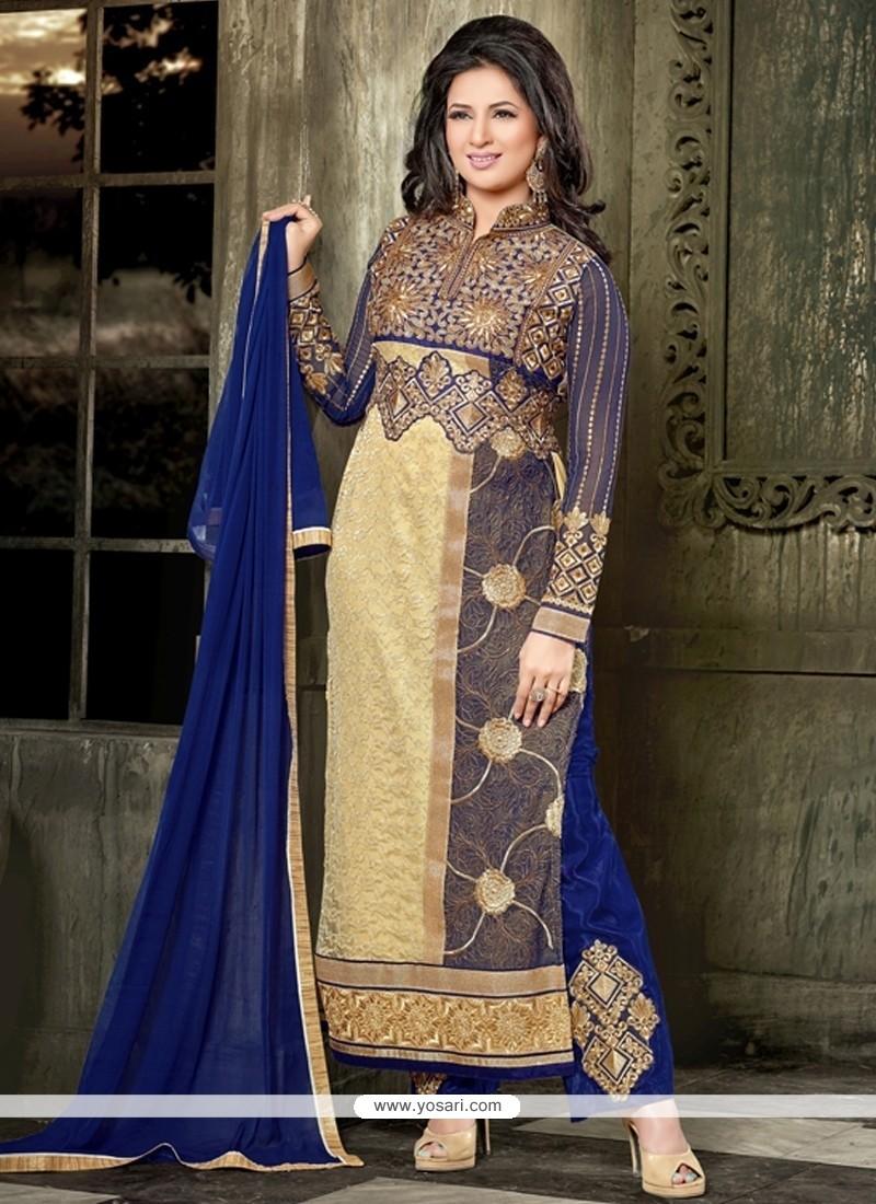 Vivacious Georgette Lace Work Designer Straight Salwar Kameez