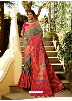 Grey Designer Party Wear Banarasi Silk Sari