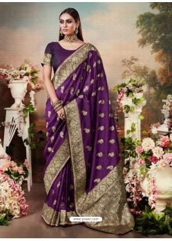 Purple Designer Party Wear Banarasi Silk Sari