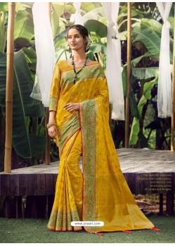 Yellow Stylish Designer Party Wear Silk Sari