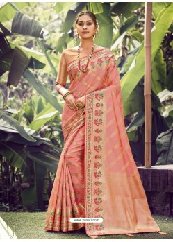Peach Stylish Designer Party Wear Silk Sari