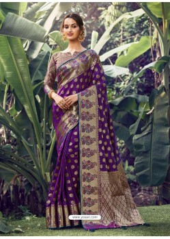Purple Stylish Designer Party Wear Silk Sari