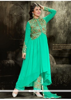 Magnificent Georgette Sea Green Designer Salwar Kameez