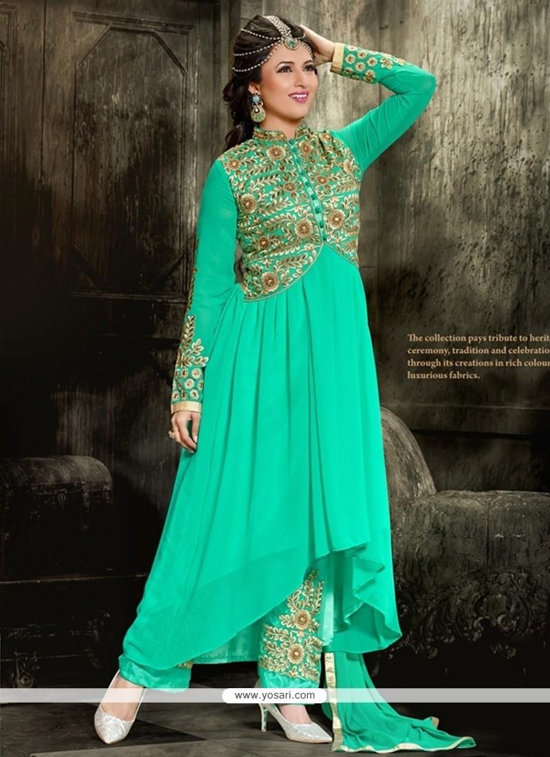 Magnificent Georgette Sea Green Designer Salwar Kameez