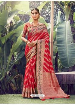 Red Stylish Designer Party Wear Silk Sari