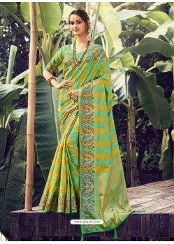 Green Stylish Designer Party Wear Silk Sari