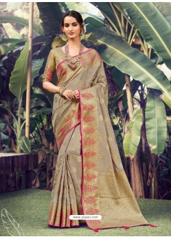 Taupe Stylish Designer Party Wear Silk Sari