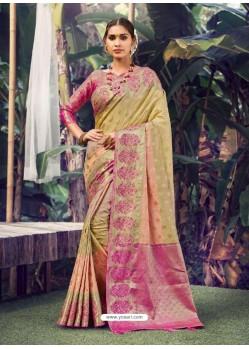 Gold Stylish Designer Party Wear Silk Sari