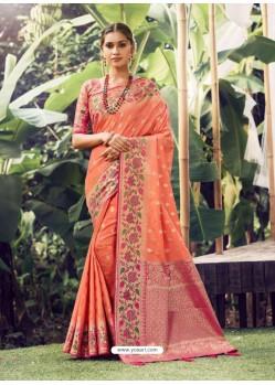 Orange Stylish Designer Party Wear Silk Sari