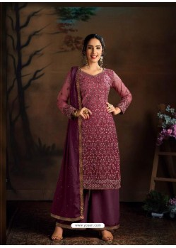 Maroon Dazzling Designer Embroidered Butterfly Net Palazzo Salwar Suit