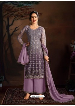 Mauve Dazzling Designer Embroidered Butterfly Net Palazzo Salwar Suit